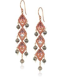 Miguel Ases - Vertical Triple Opaque Swarovski Trillion Dangle Earrings, Rose Gold And Flint - Lyst