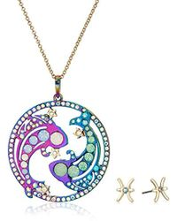 Betsey Johnson - Pisces Zodiac Necklace And Earrings Set, Multi, One Size - Lyst