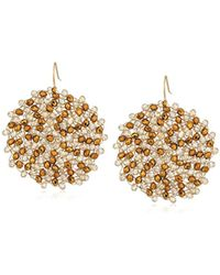"Kenneth Cole - ""shiny Gold Items"" Gold And Neutral Tonal Beaded Woven Drop Earrings - Lyst"