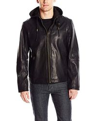 df77dd160837 Cole Haan - Washed Leather Zip Off Hood Moto Jacket - Lyst