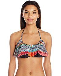 Jessica Simpson - Dakota Placement Flounce Adjustable Tie Halter Tassel Bikini Top - Lyst