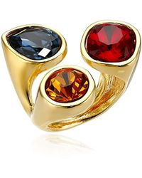 Kenneth Jay Lane - Gold-plated And Multi-dark Gem Cluster Adjustable Ring, Size 5-7 - Lyst