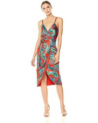 Nicole Miller - Spaghtetti Strap Faux Wrap Dress With Detachable Sash - Lyst