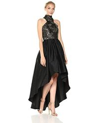 Vera Wang - Metallic Embroidered Mock Neck High Low Ballgown - Lyst