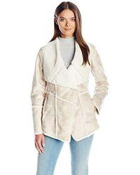 Laundry by Shelli Segal - Fur-faux Shearling Drape Front - Lyst