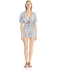 2cd9fea117e9 Mara Hoffman - Polka Dot Embroidered Tie-front Romper - Lyst