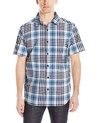 381f7f56522 American Eagle Ae Short Sleeve Madras Shirt in Blue for Men - Lyst