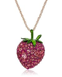 Betsey Johnson - S Bright Pink Strawberry Pendant Necklace - Lyst