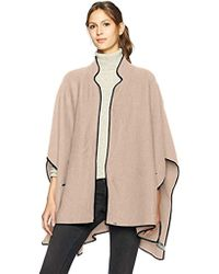 Calvin Klein - Contrast Trim Knit Ruana With Lapel - Lyst
