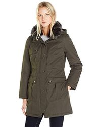 Kensie - Bonded Parka Jacket With Adjustable Waist Removable Faux Fur Collar - Lyst