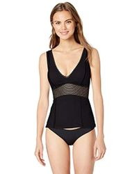 261b5a5e2f Kenneth Cole Wide Band V-neck Cross Back One Piece Swimsuit - Lyst