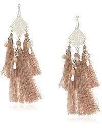 Chan Luu - Shadow Grey Mix Coin And Tassel Drop Earrings - Lyst