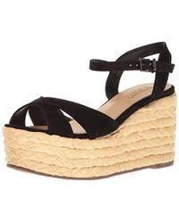2b57b5dfe340 Lyst - Schutz Veridiane Women Open Toe Suede Black Wedge Sandal in Black