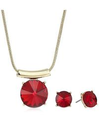 Kenneth Cole - Gold Pendant Necklace And Earrings Jewelry Set - Lyst