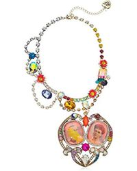 Betsey Johnson - S Granny Chic Antique Picture Heart Statement Pendant Necklace, Multi, One Size - Lyst