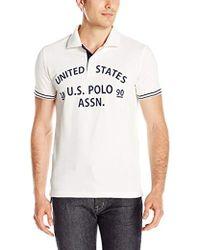 U.S. POLO ASSN. - Slim-fit Flocked Logo Pique Polo Shirt - Lyst