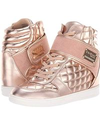 8a6d3a0c61b Lyst - Bebe Thora Metal Ankle Wedge in Pink
