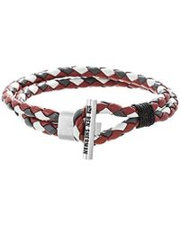 Ben Sherman - Grey, Red, White Faux Leather Braided Double Strand Bracelet With Stainless Steel Toggle Bar Design - Lyst