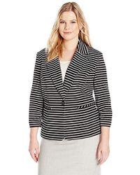 Nine West - Plus Size 1 Button Striped Notch Collar Jacket - Lyst