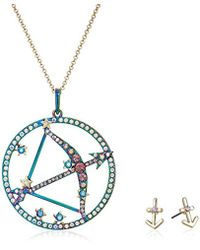 Betsey Johnson - (gbg) Sagittarius Zodiac Necklace And Earrings Jewelry Set, Multi, One Size - Lyst