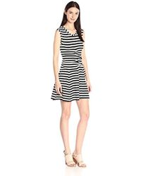 Nicole Miller - Stretch Heavy Stripe Tidal Pleat Dress - Lyst