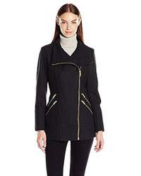 Guess - Melton Wool Asymmetrical Zip Coat - Lyst