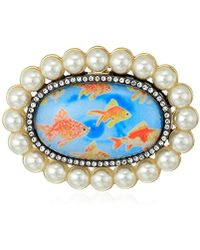Betsey Johnson - S Granny Chic Gold Fish And Pearl Brooches And Pin, Multi, One Size - Lyst