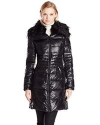 Vince Camuto - Mid-length Down Coat With Faux-fur Collar - Lyst