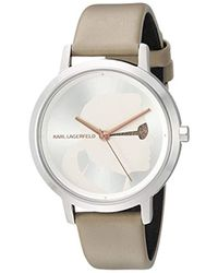 Karl Lagerfeld - Camille Quartz Stainless Steel And Leather Watch, Color: Silver-tone, Light Brown (model: Kl2223) - Lyst