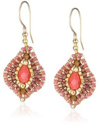 Miguel Ases - Small Raspberry Quartz Lotus Drop Earrings - Lyst