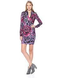 Just Cavalli - S Fitted Rose Print Dress - Lyst