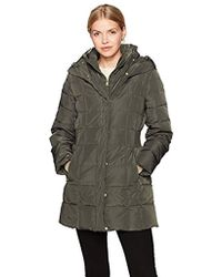 Cole Haan - Taffeta Down Coat With Bib Front And Dramatic Hood - Lyst