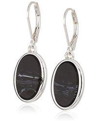 Nine West - Silver-tone And Jet Drop Earrings, Size 0 - Lyst