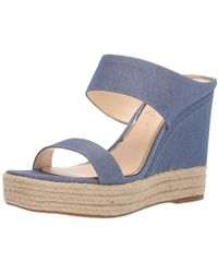 19e63e3f093b Lyst - Steve Madden Iluvit T-Strap Platform Wedge Sandals in Natural