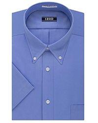 Izod - Regular Fit Short Sleeve Solid Dress Shirt - Lyst