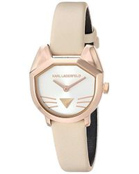 Karl Lagerfeld - Camille Quartz Stainless Steel And Leather Casual Watch, Color Rose Gold-tone, Beige (model: Kl2620) - Lyst