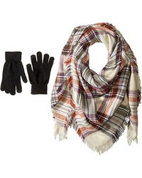 Steve Madden Classic Plaid Square Blanket Wrap With Etouch Glove Set (taupe) Scarves