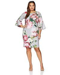 a911d608586 Lyst - Calvin Klein Plus Size Logo Belt Short Sleeve Midi Dress in ...