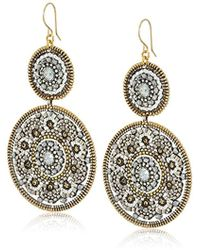 Miguel Ases - Large Circle Swarovski Pyrite Double Drop Dangle Earrings - Lyst