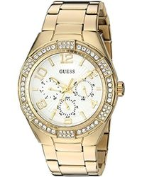 93083004987e Guess - U0729l2 Sporty Gold-tone Stainless Steel Watch With Multi-function  Dial And