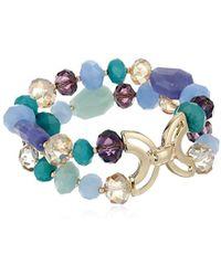 Napier - Free Spirit Purple Gold-tone/multi Stretch Bracelet - Lyst