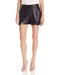 Halston - Overlay Leather Short - Lyst