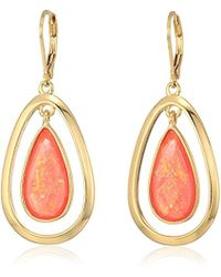 Anne Klein - Gold Tone And Pink Stone Orbital Drop Leverback Drop Earrings - Lyst