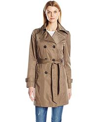 Ellen Tracy - Outerwear Doublebreasted Techno Trench - Lyst
