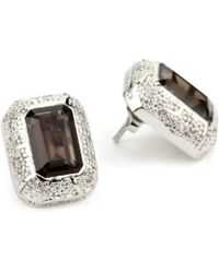 "Rebecca - ""manhattan"" White Snakeskin Pattern Smoky Quartz Earrings - Lyst"