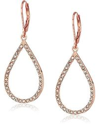 Anne Klein - Rose Gold Tone Tear Leverback Drop Earrings - Lyst
