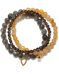 Satya Jewelry - Labradorite, Yellow Jade, Smokey Quartz, Citrine Gold Plate Lotus Petal Stretch Bracelet - Lyst
