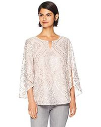 Calvin Klein - Long Sleeve Blouse With Sequin Design - Lyst