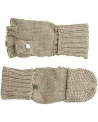 Calvin Klein - Lurex Textured Flip Top Gloves - Lyst