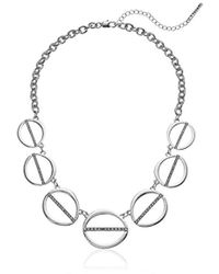 T Tahari - S Essentials Linked Ovals Necklace, Silver, One Size - Lyst